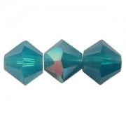 Swarovski Elements Perlen Bicones 4mm Carribean Blue Opal AB beschichtet 50 Stück