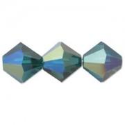 Swarovski Elements Perlen Bicones 3mm Emerald AB beschichtet 100 Stück
