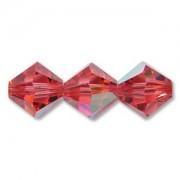 Swarovski Elements Perlen Bicones 4mm Indian Pink AB beschichtet 50 Stück