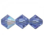 Swarovski Elements Perlen Bicones 4mm Sapphire AB beschichtet 100 Stück