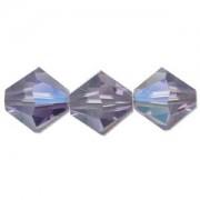 Swarovski Elements Perlen Bicones 4mm Tanzanite AB beschichtet 50 Stück