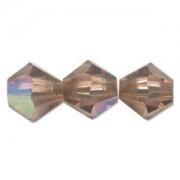 Swarovski Elements Perlen Bicones 4mm Light Smoked Topaz AB beschichtet 50 Stück