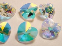 Swarovski Elements Anhänger Herzen 14mm Crystal AB beschichtet