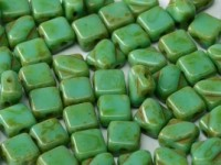 Silky Beads 2-hole 6 x 6 mm Jade Travertin ca 50Stck