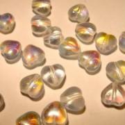 Glasperlen gepresst Herzen 5x5mm crystal irisierend 25 Stück