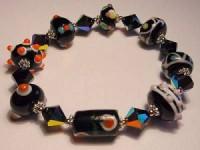 Perlenset Armband, Lampwork Bicone, schwarz