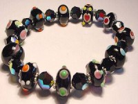 Perlenset Armband, Lampwork Ball, schwarz