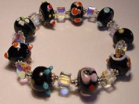 Perlenset Armband, Lampwork Würfel, schwarz crystal