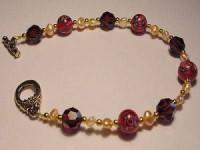 Perlenset Armband, Lampwork Ball, burgundy