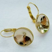 Ohrhakenfassung 10mm mit Kesselrand 1 Paar vergoldet nickelfrei