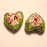 Cloisonne-Beads Herz 15mm hellgrün