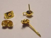 Ohrstecker mit Halbkugel und Öse, goldfarben, 1 Paar