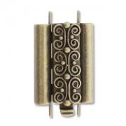 Beadslide Verschluss Squiggle Design Ant. Brass 10x18mm