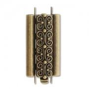 Beadslide Verschluss Squiggle Design Ant. Brass 10x24mm