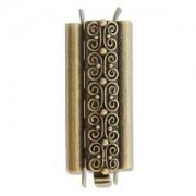 Beadslide Verschluss Squiggle Design Ant. Brass 10x29mm