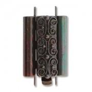 Beadslide Verschluss Squiggle Design Ant. Copper 10x18mm