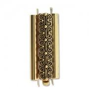 Beadslide Verschluss Squiggle Design Ant. Gold 10x29mm