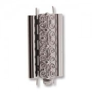 Beadslide Verschluss Squiggle Design silver plated 10x24mm