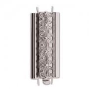 Beadslide Verschluss Squiggle Design silver plated 10x29mm