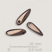 Glasperlen gepresst Dagger Blütenblatt Metallic Altgold 3x11mm 25 Stück