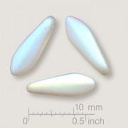 Glasperlen gepresst Dagger Blütenblatt Crystal AB matt 5x16mm 25 Stück