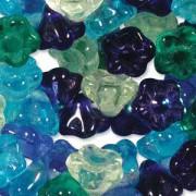 Glasperlen gepresst Blümchen 7mm MIX06 Lagoon 100 Stück