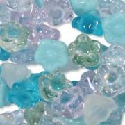Glasperlen gepresst Blümchen 7mm MIX08 Serenity 100 Stück