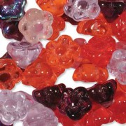Glasperlen gepresst Blümchen 7mm MIX10 Melonberry 100 Stück