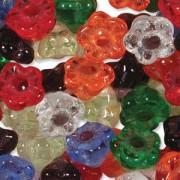 Glasperlen gepresst Blümchen 7mm MIX16 Rainbow 100 Stück