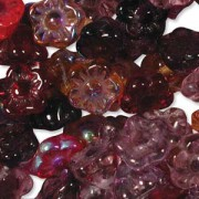 Glasperlen gepresst Blümchen 7mm MIX18 Vineyard 100 Stück