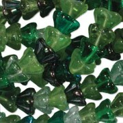 Glasperlen gepresst Blütenkelch 11X13mm MIX03 Evergreen 50 Stück