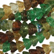 Glasperlen gepresst Blütenkelch 11X13mm MIX07 Earth Tone 50 Stück