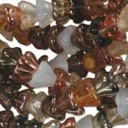 Glasperlen gepresst Blütenkelch 11X13mm MIX22 Honey Butter 50 Stück