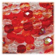 Glasschliffperlen 6mm MIX 100 Stück Strawberry Fields
