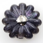 Unicorne Daisy Bead Vintage 22K Gold Center Noir, 1 Stück