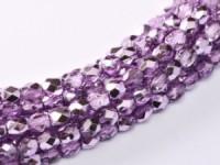 Glasschliffperlen 4mm Crystal Lilac Metallic Ice 100 Stück