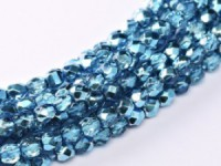 Glasschliffperlen 3mm Crystal Aqua Metallic Ice 100 Stück
