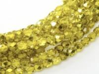 Glasschliffperlen 4mm Crystal Citron Metallic Ice 100 Stück