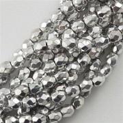 Glasschliffperlen 3mm Silber 100 Stück
