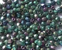 Glasschliffperlen 3mm Blau Grün Ultra irisierend 100 Stück