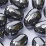 Glass drops 11x8mm Jet Hematite 10 Stück