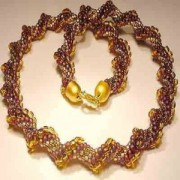 Perlenset Häkelkette Cellini braun