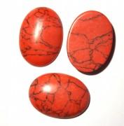 Cabochons oval 30x22x7mm Red Turquoise gefärbt 1 Stück
