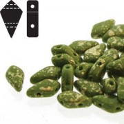 Kite Beads 9x5mm Gold Splash Wasabi Opaque ca 10gr