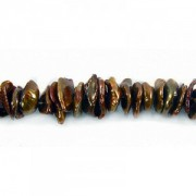 Keshi Pearls center drilled Dark Copper ca 2x6mm 40cm Strang