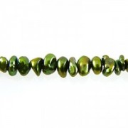 Keshi Pearls center drilled Lime Green ca 6-7mm 40cm Strang