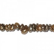 Keshi Pearls center drilled metallic Beige ca 5x6mm 40cm Strang