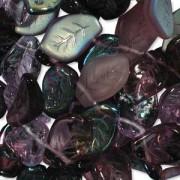 Glasperlen gepresst Blätter 9X14mm MIX01 Lilac 50 Stück