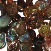 Glasperlen gepresst Blätter 9X14mm MIX04 Wheatberry 50 Stück