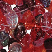 Glasperlen gepresst Blätter 9X14mm MIX10 Melonberry 50 Stück